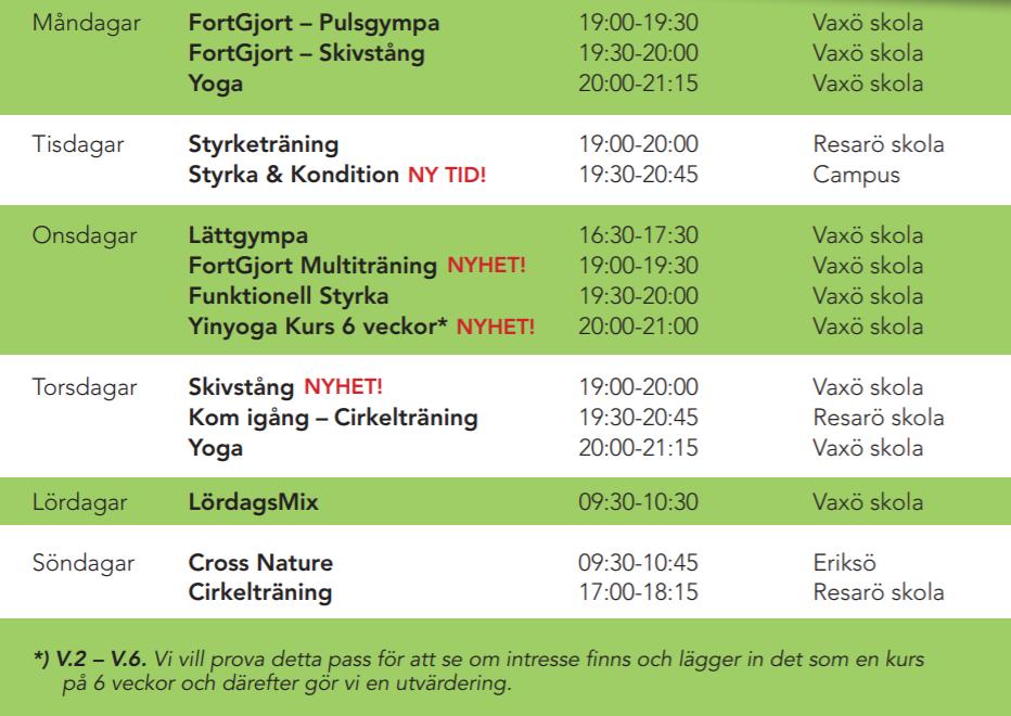 Schema för VT 2019 hos Träningskompaniet Vaxholm